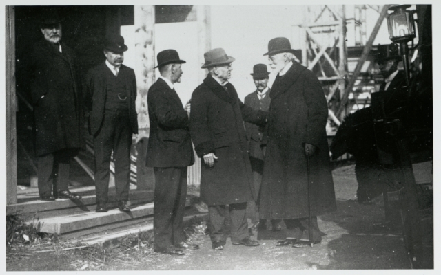 Library staff and the architect on site with the American Ambassador, 1912 npc