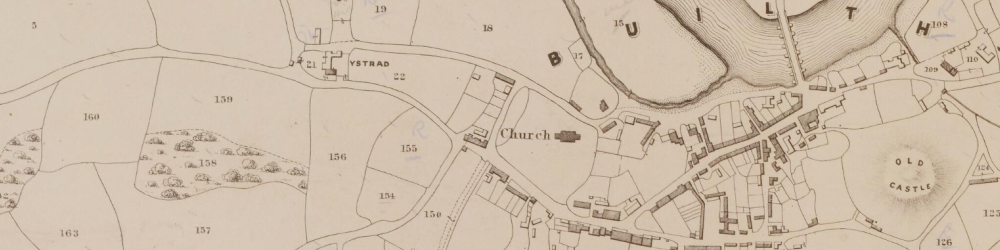Part of the Tithe Map for Builth parish