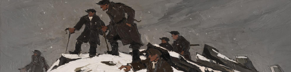Section of 'The Gathering, or, Farmers on Glyder Fach' by Kyffin Williams