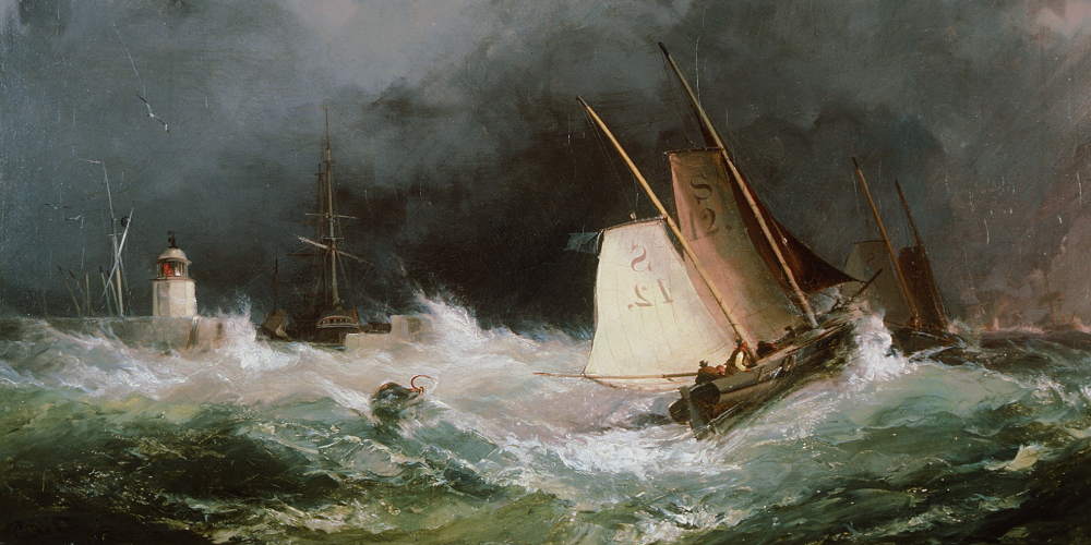 George Chambers' painting of pilot boats heading out of Swansea.