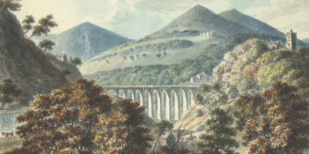 John Ingleby's drawing of Chirk in Denbighshire, showing the church, the aqueduct and the castle.