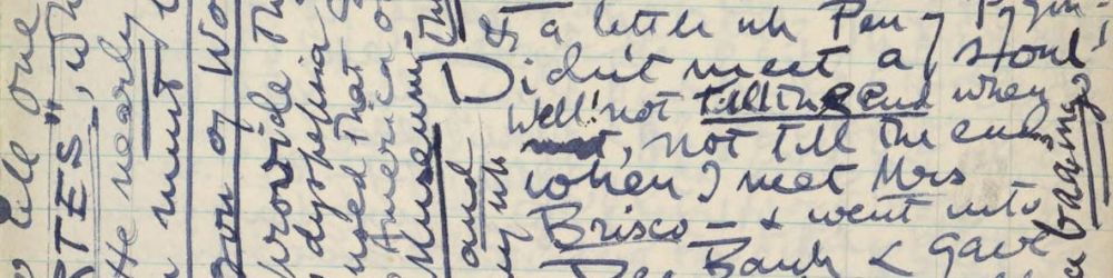 Detail from a page in John Cowper Powys' diary for 1939.