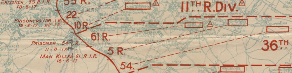 Part of a map showing German forces in 1917.