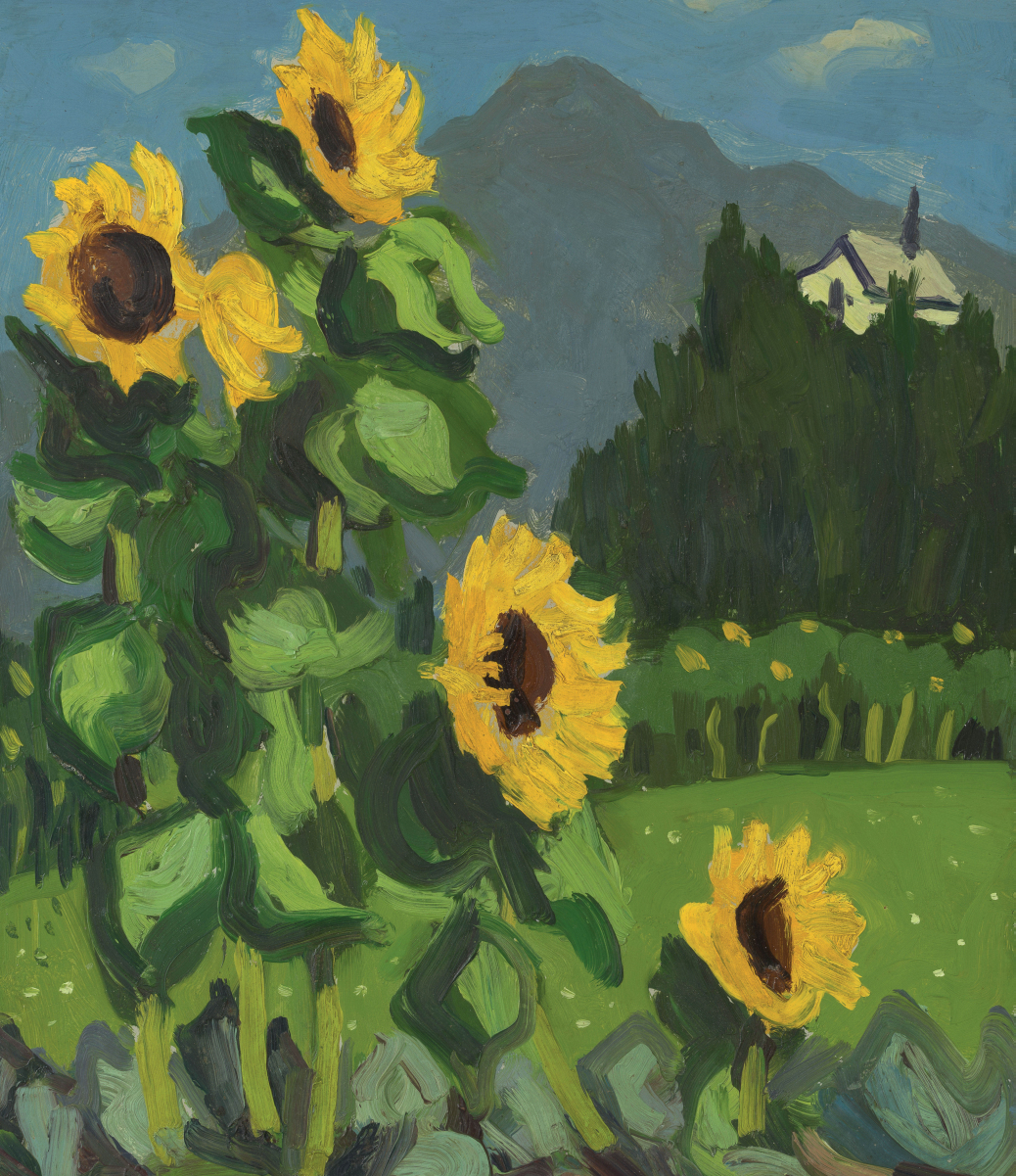 A mountain scene with Sunflowers by artist Kyffin Williams